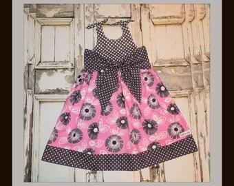 Orchid Retro Flower Big Bow Dress 2 3 4 5 6 7 8 10 Custom Boutique Birthday School Handmade in USA That's So Addie Tween