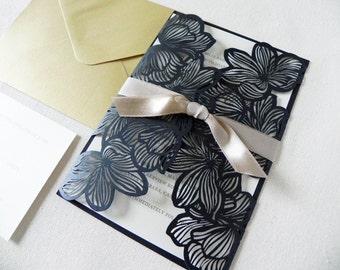 Gold and Black Flower Laser Cut Wedding Invitation Suite for Vintage Wedding - Laser Cut Gate Fold, Insert Card, RSVP Card, and Envelopes