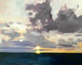Ocean Sunset • original oil painting 9x12""