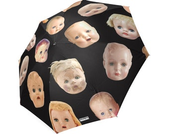 Doll Head Umbrella - photo-realistic vintage doll heads - creepy doll head - foldable umbrella - custom background -