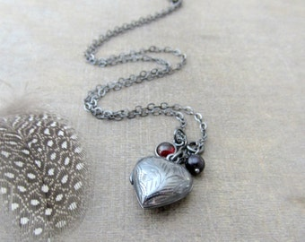 Small Heart Locket Pendant, Sterling Silver Locket, Oxidized Silver Locket, Heart Jewelry, Silver Heart Locket Necklace, Birthstone Locket