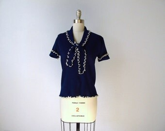 Vintage 1960s 60s Nautical Sailor Tie Top in Dark Navy Blue