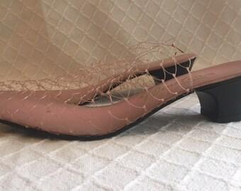 Vintage net bedroom slippers heels 4 1/2