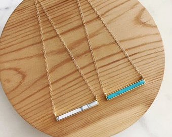White Marble, Turquoise, Bar Necklace