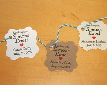 Sending you Smore Love Wedding Favor Smore Love Favor Tags 100 pieces Wedding Mini Favor Tags Guest Tags, Candy Tags Tags ONLY