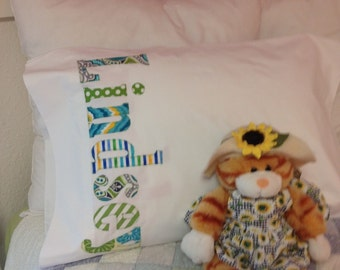 Personalized Name Pillowcase - Collage of Aqua Blues and Green Fabric - Or Colors of Your Choice