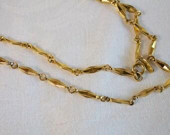 """Vintage Monet long gold tone bar Necklace 28"""""""