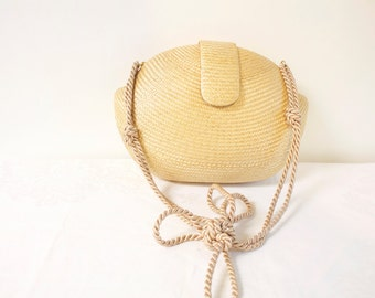 Vintage 1960s Boxy woven Basket Purse
