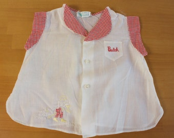 Vintage 1970s Tiny Tots Original White and red Baby Blouse - Butch embroiredy - diaper shirt