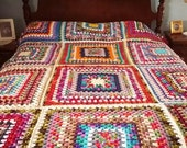 """Handmade Bedspread Bedcover Large Granny Squares Cabin Chic 70"""" x 90"""" Queen Full Bed sized READY to SHIP OOAK"""