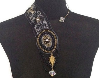 ON SALE Stunning Asymmetrical Black, Gold and Crystal Beaded Collar Necklace on Wire