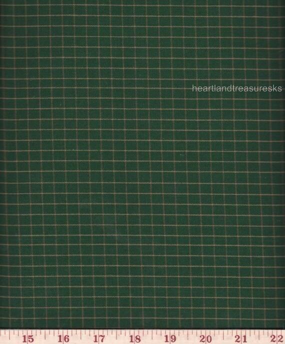 Dunroven House  H-403 Homespun Fabric Green w/ Wheat Stripe  Plaid Fabric   1/2 Yard Cut Off The Bolt