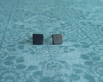 Black Stud Earrings  - Square Shape Stud Earrings - Sterling Silver Earring   Handcrafted Jewelry