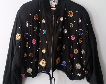 90s Bedazzled Bomber Jacket