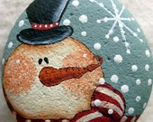 Snowman and Snowflake  Garden Stone  - Handpainted|Home Decor|Paperweight|Garden