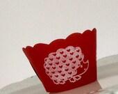 Valentine Cupcake Wrappers Hedgehog Love SALE