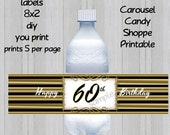 60th Birthday Black and Gold Water Bottle Lables Printable INSTANT Download