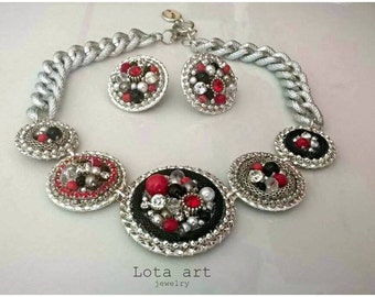 One of a kind statement necklace with free matching earrings - black red silver