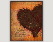 Annabelle Lee, Edgar Allan Poe, goth decor, macabre decor, anniversary gift, literature print, black heart art, bedroom decor, orange, love