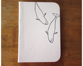 Lined Paper Leather Journal  - White Leather Diary - Blank book - Beluga Whale Notebook