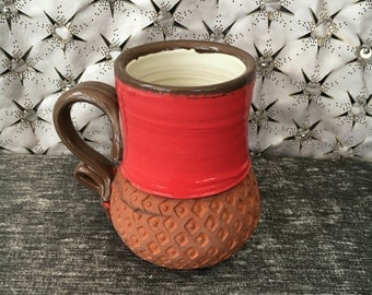 Ceramic Coffee Mug, Tea Cup in Poppy Red, Summer White and Terra Red with Homemade Stamps