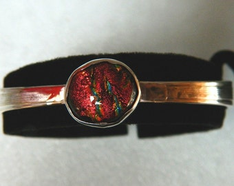 Dichroic Fused Glass Cabochon on Vintage Sterling Silver Silverware Bracelet, CB1