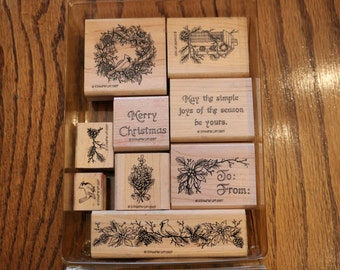 1997 Stampin Up Nature's Christmas Wood Mounted Rubber Stamps Set RETIRED HTF