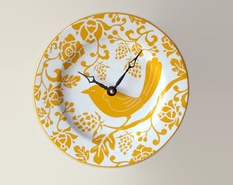 Goldenrod Bird Wall Clock, 8-1/4 Inch SILENT Mustard Yellow Ceramic Plate Wall Clock, Kitchen Clock, Unique Wall Clock, Wall Decor - 2303