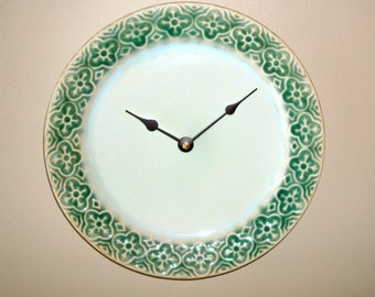 Stoneware Plate Wall Clock, Green and Mint Wall Clock, Kitchen Clock, Kitchen Wall Decor, Unique Wall Clock - 1941