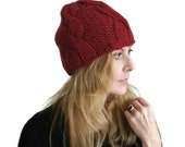 Chunky Cable Beanie Hat Peyton Thick Mans Womens Fitted Winter Cap Hand Knit Red Wool Size M Gift Wrapped