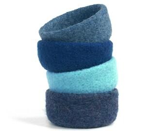 Felt Bowls Felted Sapphire Denim Royal Pool Blue Home Decor Knitted Baskets Ring Dish Catch All Desk Organizer Housewarming Hostess gift