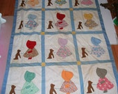Vintage Hand Pieced Quilt top Crib Sized Wall Hanging Pillow Supply Antique Cutter Quilt Sunbonnet Sue Buster Brown Dog Sewing Supply
