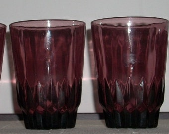 Mid Century Hazel Atlas Moroccan Amethyst Tumblers Old fashioned Glasses