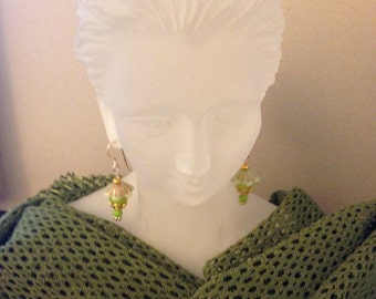 Dangle Gemstone Earrings with Czech