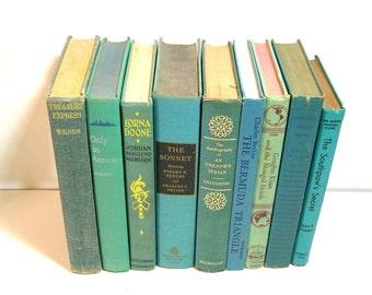 Aqua Blue Books, Instant Library, Vintage Book Collection, Home Decor Assortment
