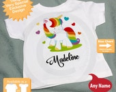 Personalized Rainbow Unicorn Shirt or Onesie, Girl's Unicorn Shirt, Rainbow Unicorn Theme (10132015b)