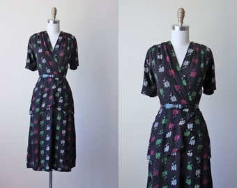 1940s Dress - Vintage 40s Dress - Black Jade Green Fuchsia Pink Floral Triple Peplum Bombshell Rayon Dress XL - Vignette Dress