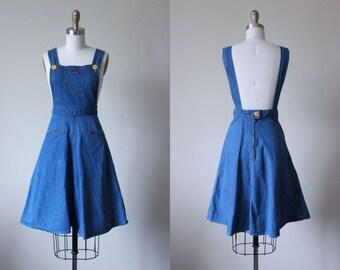 70s Dress - Vintage 1970s Denim Jumper Dress S - Landlubber Dress
