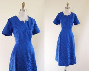 1950s Dress - Vintage 50s Cocktail Dress - Cobalt Blue Silk Atomic Wiggle Cocktail Party Dress L XL - House of Bloom Dress