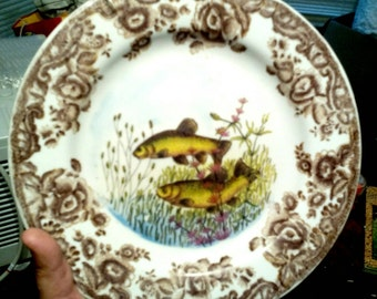 Set of 2 Brown Transfer ware Fish Plates