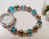 Blue Crystal Beaded Stretchable Ladies Watch