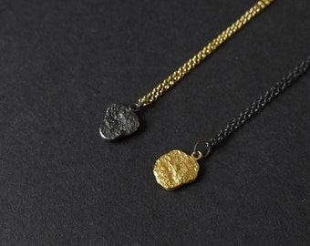 "SALE 18"" Gold Vermeil Chain Necklace, 24k Gold Plated Pendant Necklace, Oxidized Silver Pendant Necklace, Minimalist Pendant Necklace"