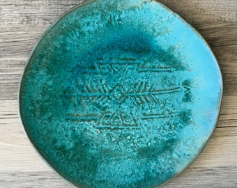 Ceramic plate turquoise color, southwestern style, modern, dinnerware, platter, serving plate