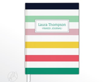 Personalized Prayer Journal, Hardbound Bible Study Notebook, Personalized Gift, Colorful Striped Hardcover Journal, Custom Gift for Her