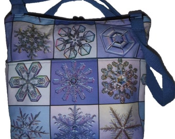 Real Snowflake Photos  Cotton-Linen Canvas purse/cross body Custom Print