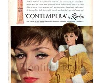 1963 Revlon Vintage Ad, 1960's Beauty, 1960's Fashion, Retro Beauty, 1960's Model, Advertising Art, Contempera Foundation, 1960's Cosmetics.