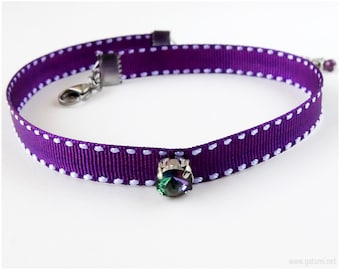 Purple Choker Necklace with Iridescent Crystal, Pastel Goth, 90s, Visual Kei, Adjustable Chain