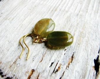 Jasper Earrings, Green Stone Oval Earrings, Minimalist Earrings, Modern Fashion, Geology, Naturalist Gift Ideas, Beaded Dangles