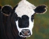 Cow Painting, Black and White Cow, Cow Portrait, Painting of a Cow, Original Oil Painting, Spotted Cow Painting, Cow Art, Helen Eaton