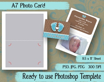 "A7 Photo Card - Digital Layered Collage Sheet Template:  5"" x 7"""